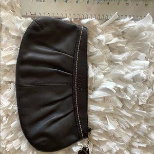 Black leather coach clutch